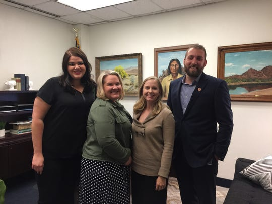 Anne Updike (from left), Sherry MacNab and Anissa Rasheta of Mormons for ERA with Mesa Republican Sen. Tyler Pace at the state Capitol in January 2019.