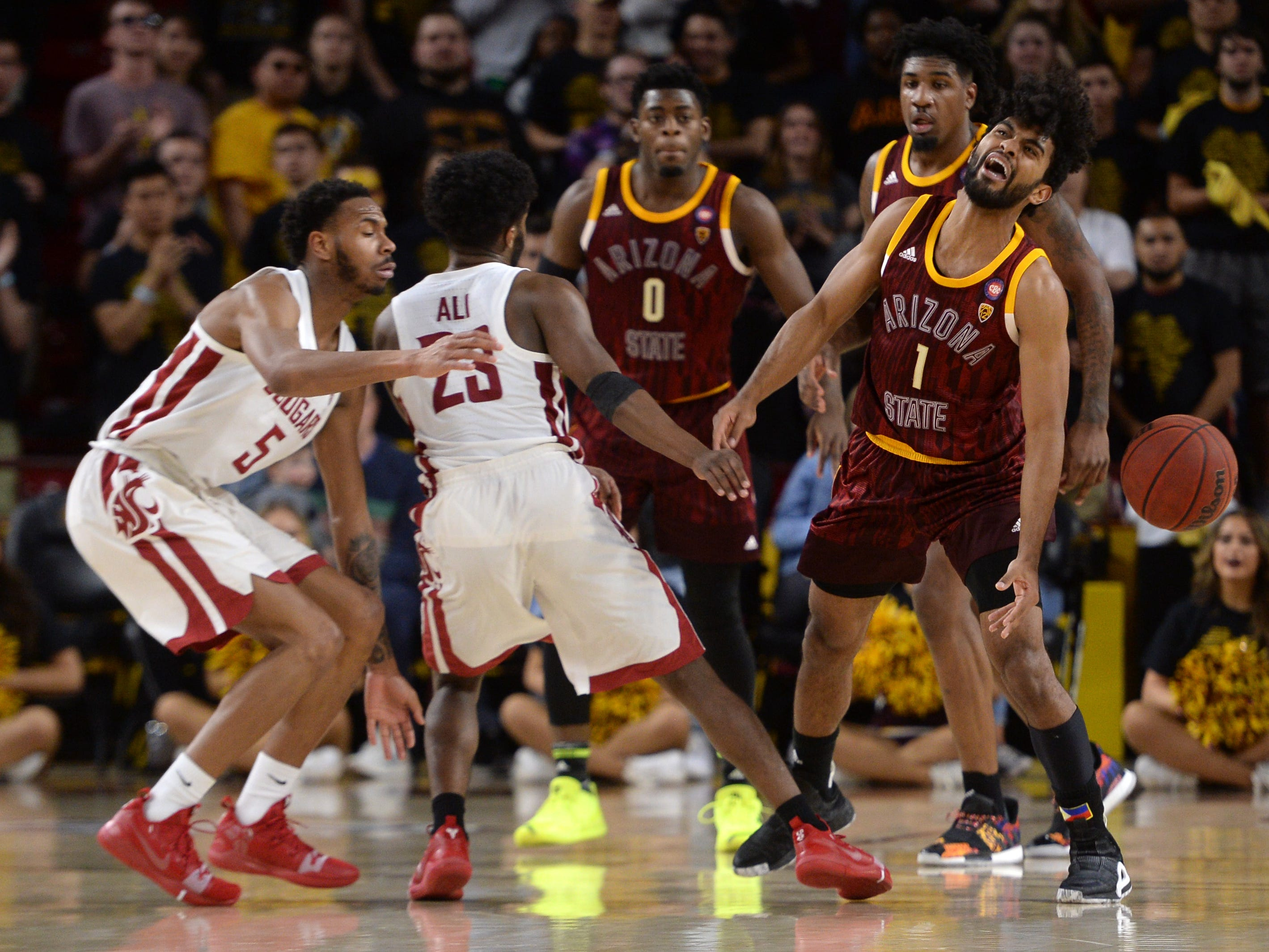 Feb 7, 2019; Tempe, AZ, USA; Arizona State Sun Devils guard Remy Martin (1) loses control of the ball against the Washington State Cougars during the second half at Wells Fargo Arena (AZ).
