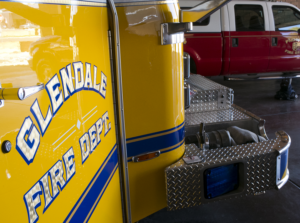A city of Glendale fire truck is parked next to a Phoenix fire truck at Fire Department 145 on Feb. 7, 2019, in Glendale. Phoenix and Glendale began operating out of Department 154 after a successful pilot program.