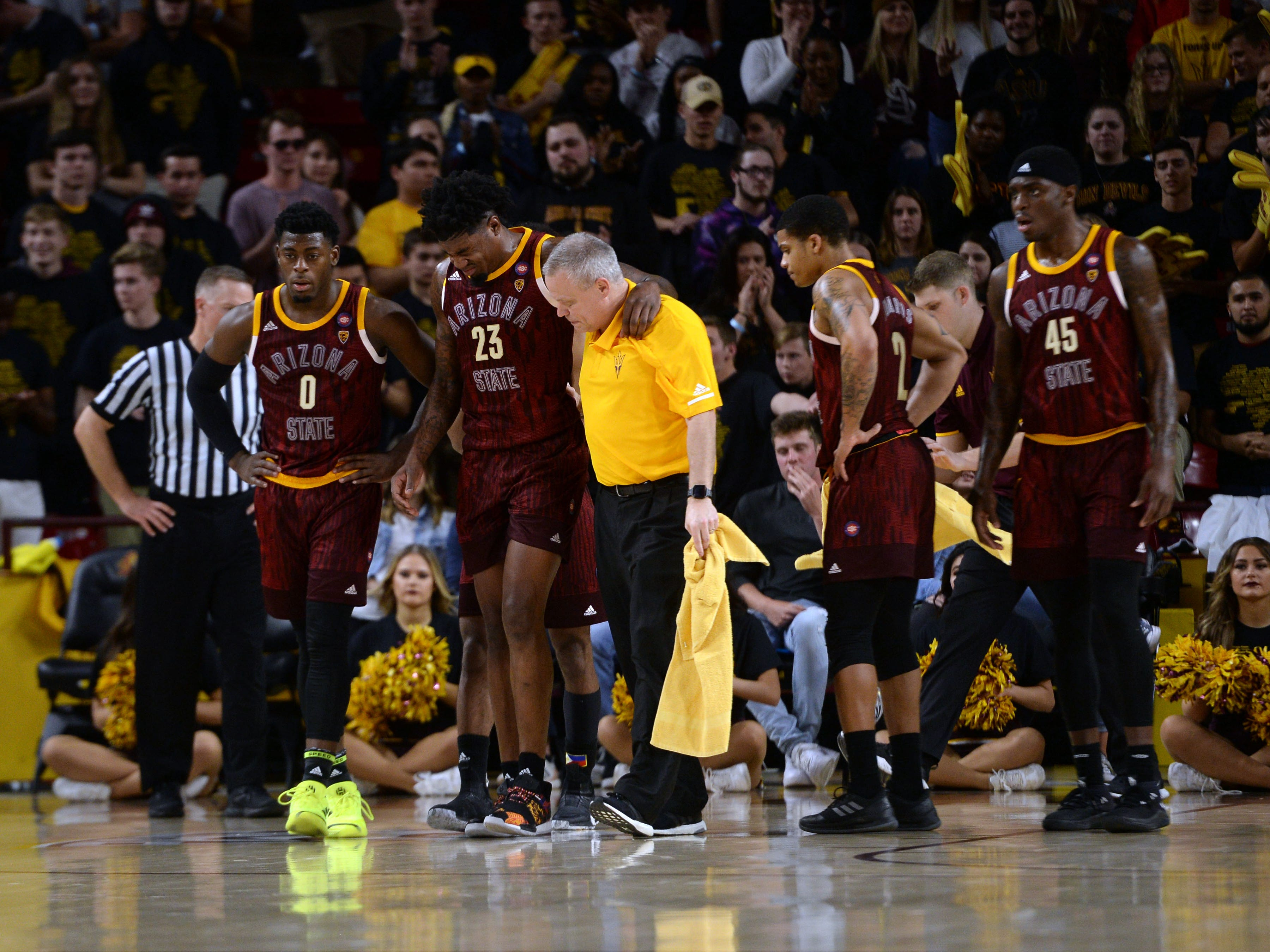 Feb 7, 2019; Tempe, AZ, USA; Arizona State Sun Devils forward Romello White (23) leaves the game with an injury against the Washington State Cougars during the second half at Wells Fargo Arena (AZ).