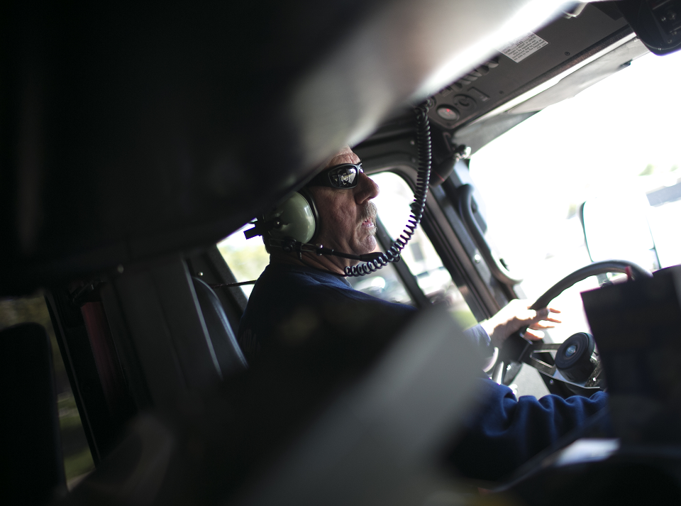 Firefighter Jim Strong drives a fire truck on a call with Glendale Fire Department 154 on Feb. 7, 2019, in Glendale. The city of Phoenix and the city of Glendale began operating out of Department 154 after a successful pilot program.
