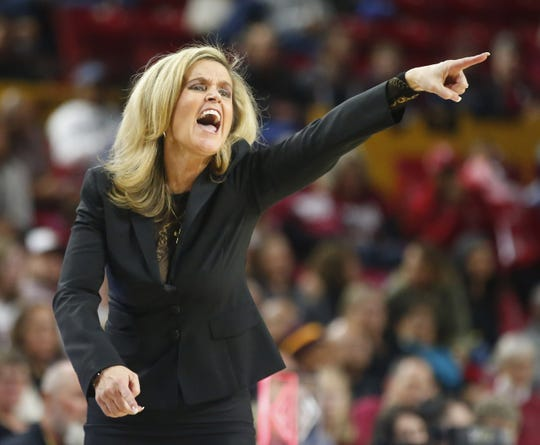 Arizona State University head coach Charli Turner Thorne yells at her team during a women's basketball game against Stanford University at Well Fargo Arena in Tempe on Jan. 11.