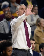 Feb 7, 2019; Tempe, AZ, USA; Arizona State Sun Devils head coach Bobby Hurley reacts against the Washington State Cougars during the first half at Wells Fargo Arena (AZ).