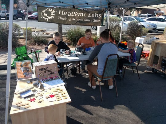 During the Southwest Maker Fest, organizations such as HeatSync Labs offer interactive science and technology-driven activities.