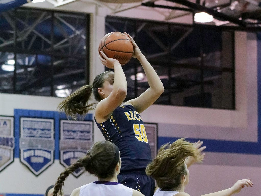 Elco's Ryelle Shuey puts up a shot in traffic during Elco's 61-44 L-L play-in game win over Ephrata on Thursday night.