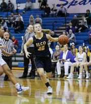 Elco's Amanda Smith drives to the hoop during a playoff win vs. Ephrata last season.