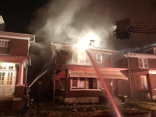 A fire damaged an abandoned home in the 100 block of West Cottage Place Wednesday, Feb. 6. Photo courtesy of York City Fire Department.