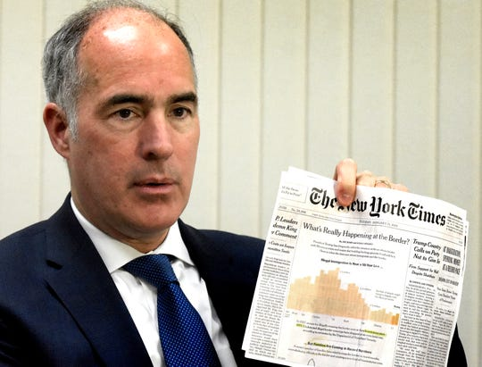 U.S. Senator Bob Casey discusses a New York Times article regarding the U.S./Mexican border during a meeting with the York Dispatch staff Friday, Feb. 8, 2019. Bill Kalina photo