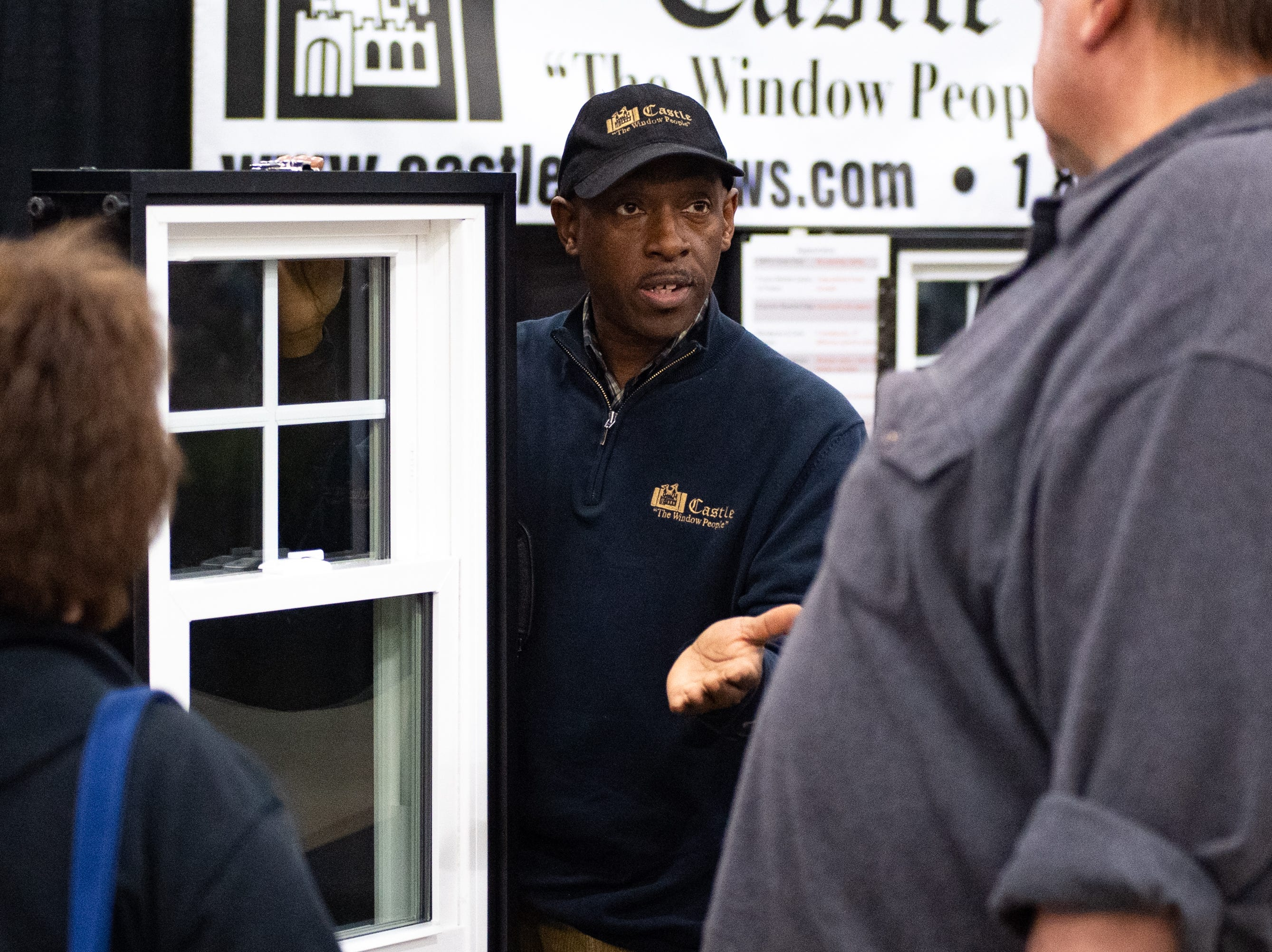 More than 150 exhibitors have plenty to offer at this weekend's York Builders Association Home & Garden Show, which continues through Sunday at the York Expo Center's Utz Arena. Here, Vennie Platter of Castle tells customers why they should consider buying new windows.