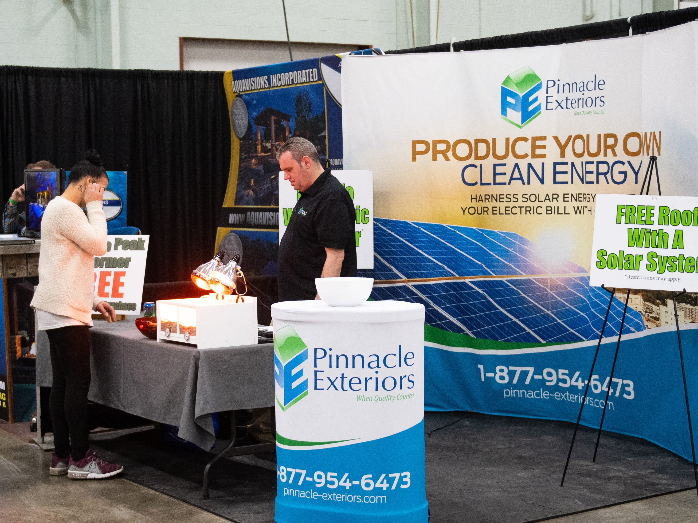 Pinnacle Exteriors has a booth at the 2019 Home & Garden Show, February 8, 2019.