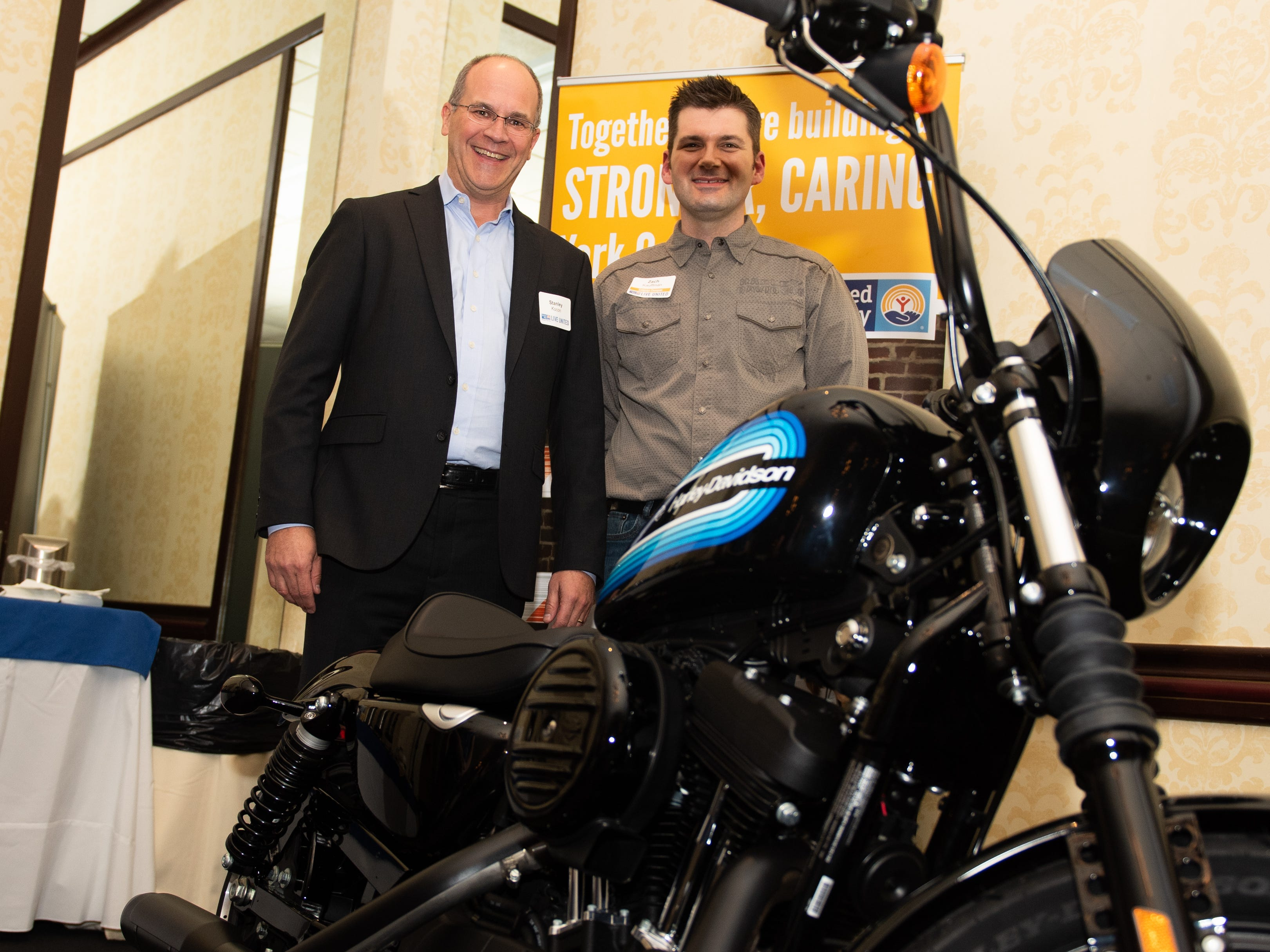 Grand prize winner Stanley Kocon can't wait to take his new Harley-Davidson motorcycle home, February 7, 2019.
