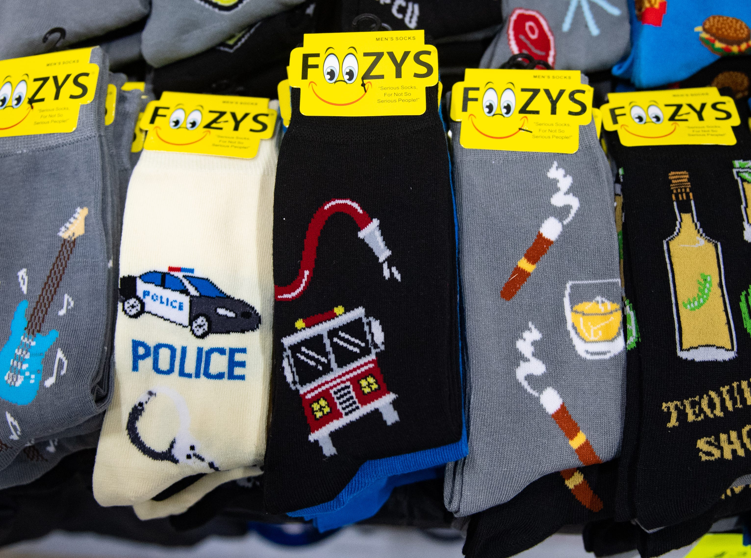 A wide variety of Foozy's socks are on sale at the 2019 Home & Garden Show, February 8, 2019.