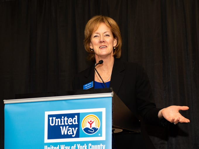 Anne Druck of United Way of York County welcomes everyone to the 2018 United Way Campaign Celebration at Wyndham Garden York, February 7, 2019.