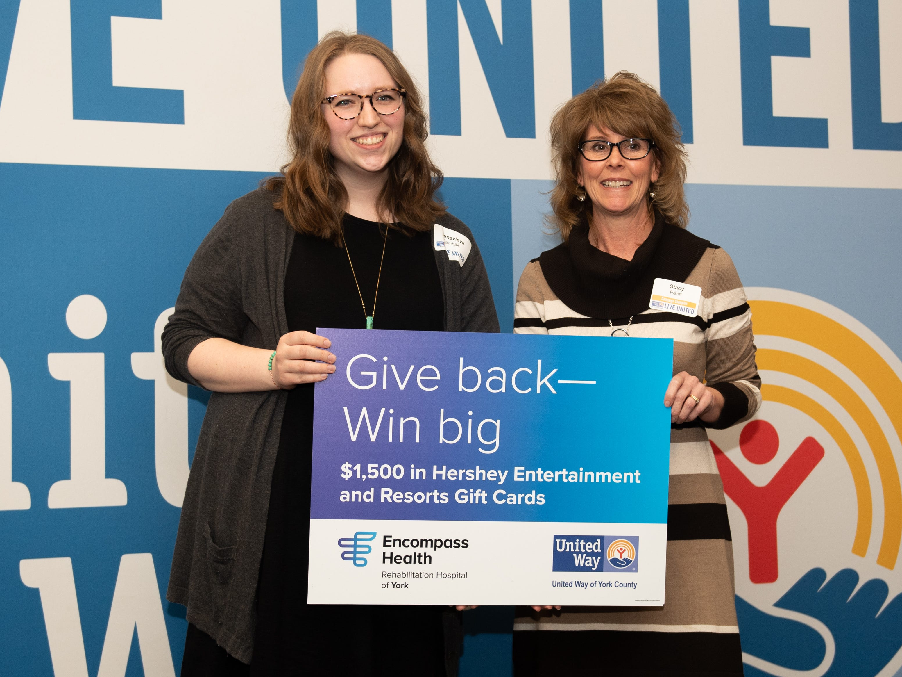 Genevieve Barchak of Leg Up Farm (left) won $1,500 in gift cards toward Hershey Entertainment & Resorts during the 2018 United Way Campaign Celebration, February 7, 2019.
