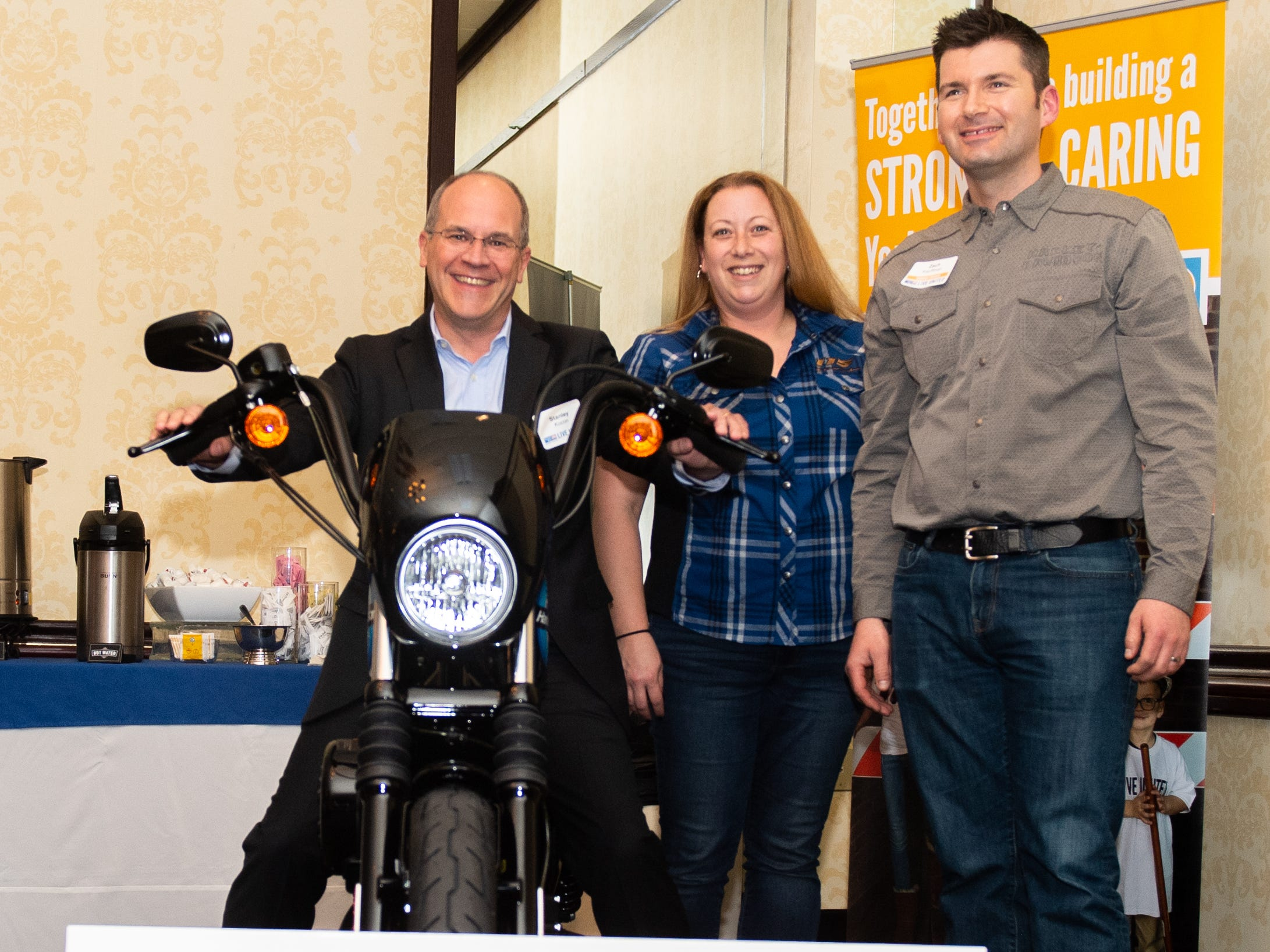 The grand prize of the night went to Stanley Kocon of Voith Hydro. He won a 2019 Harley-Davidson Iron 1200 Motorcycle during the 2018 United Way Campaign Celebration, February 7, 2019.