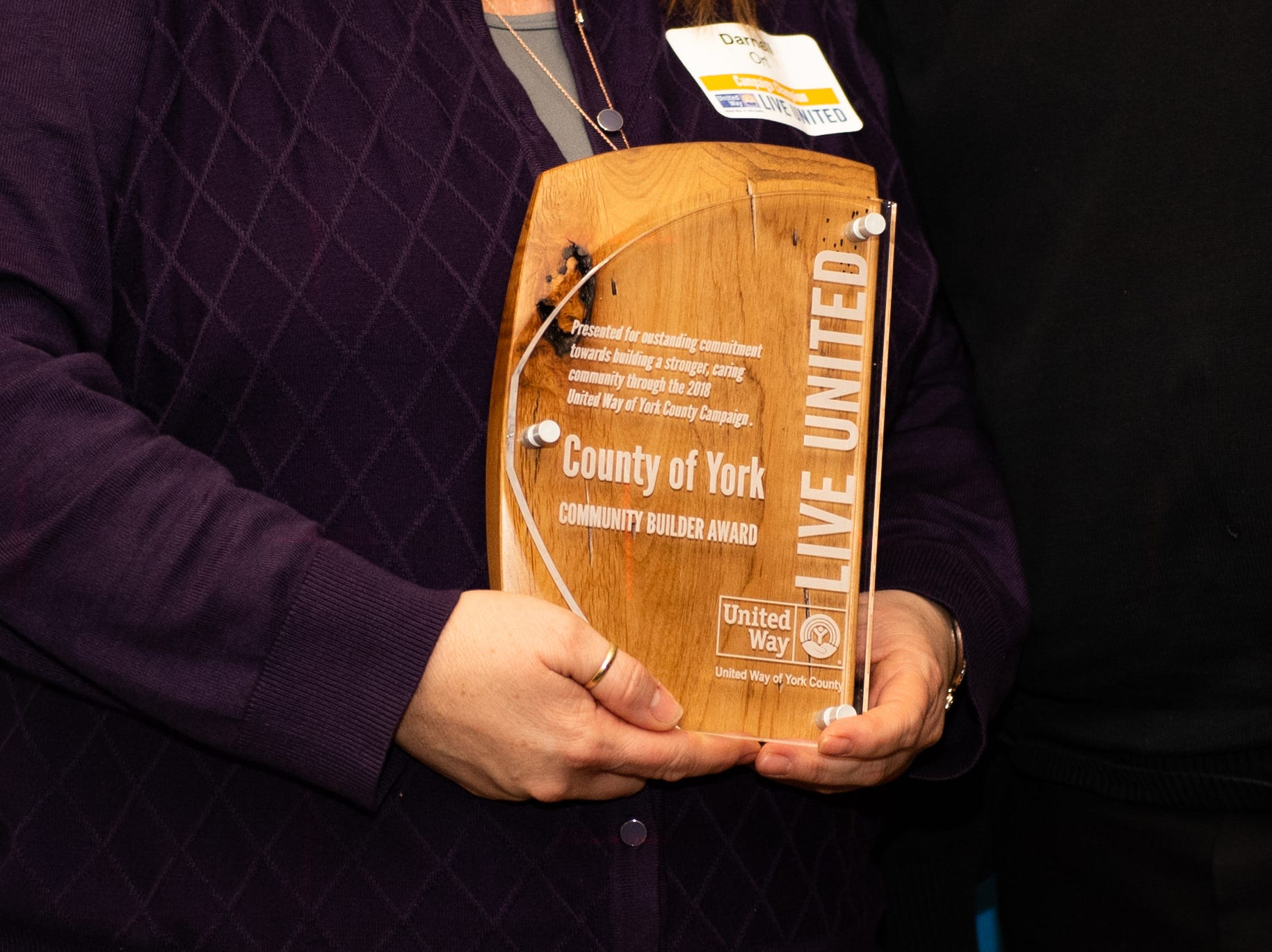 Each company is awarded wooded plaque thanking them for their outstanding commitment, February 7, 2019.