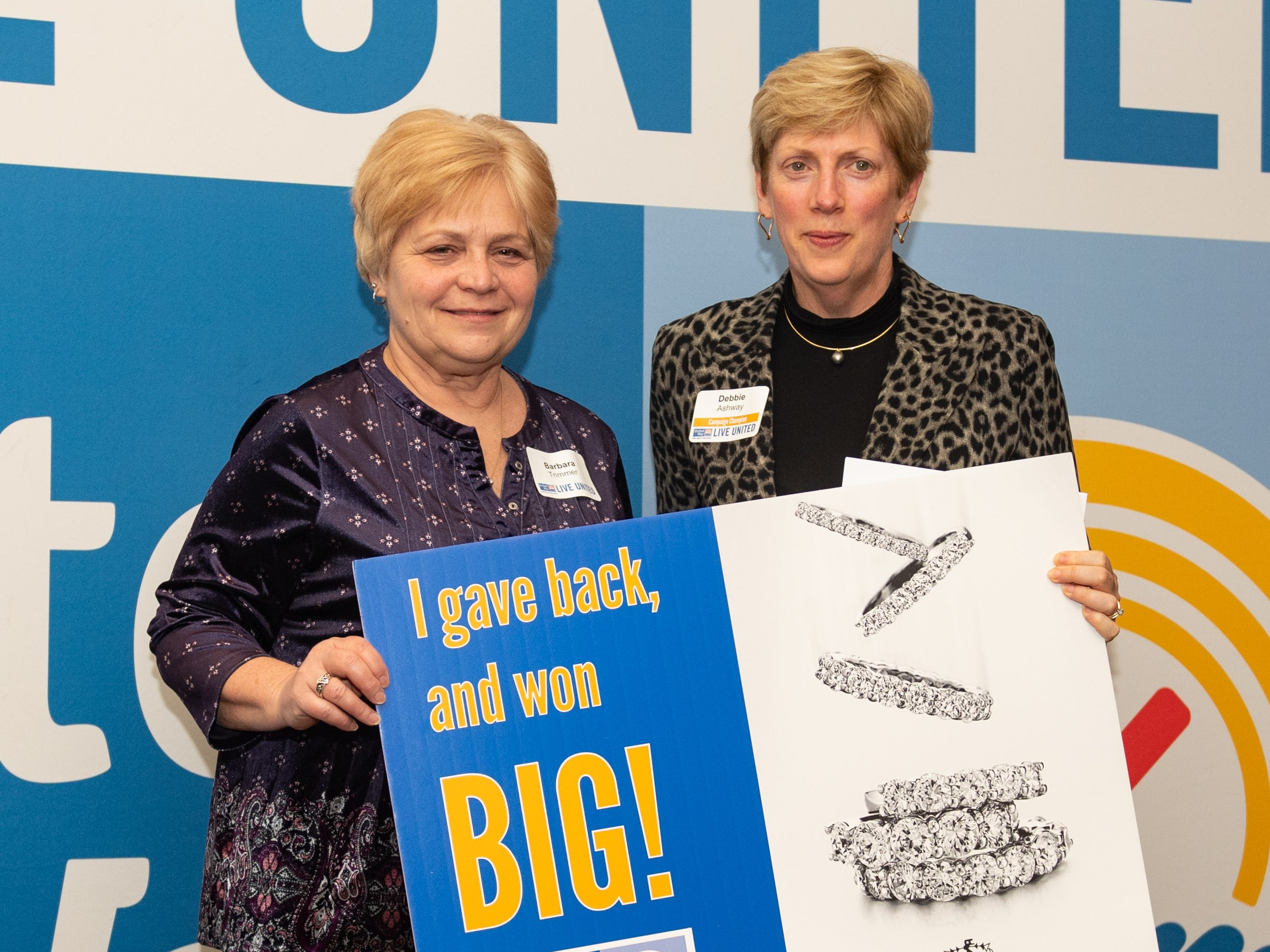 Barbara Trimmer of WellSpan Health (left) won $1,000 Futer Bros. Jewelers Shopping Spree during the 2018 United Way Campaign Celebration, February 7, 2019.