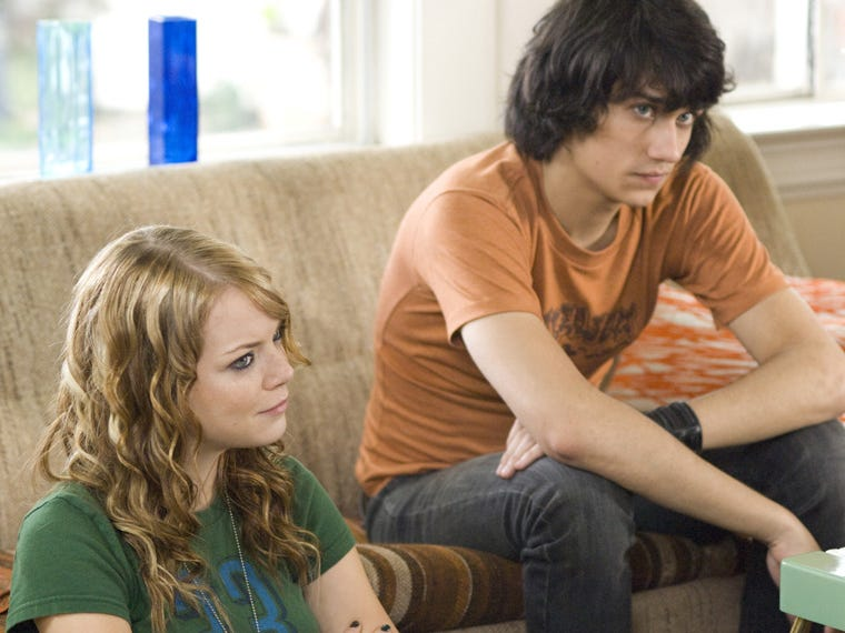 """Teddy Geiger and Emma Stone in a scene from the 2008 film """"The Rocker ."""""""