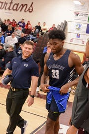 Former McQuaid star Isaiah Stewart exits the court after La Lumiere's 95-67 win over Takoma Academy at the Bob Kirk Invitational Tournament in Cumberland, Maryland.
