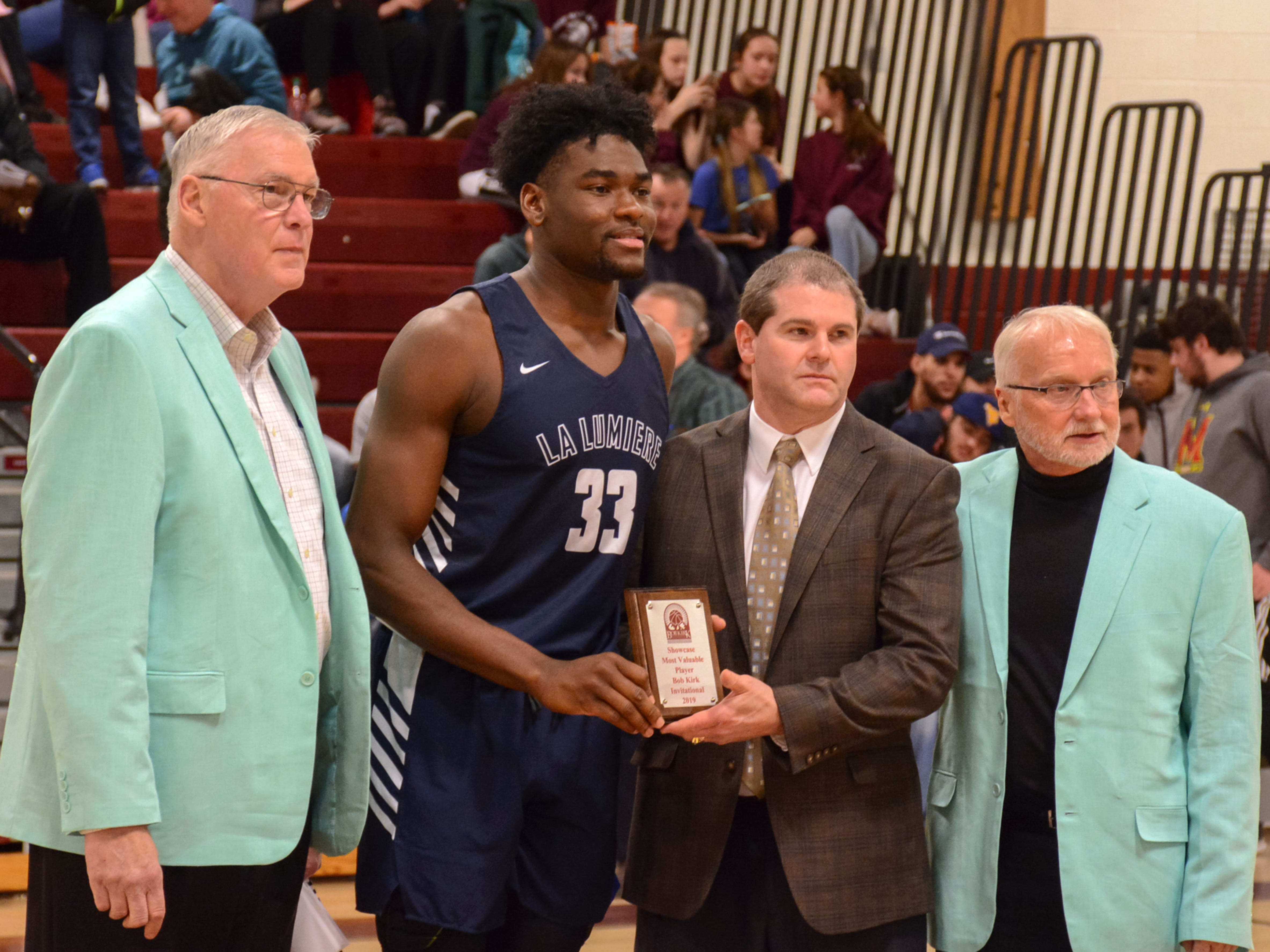 Rochester's Isaiah Stewart (33) of the La Lumiere School in La Porte, Indiana, was named the Most Valuable Player during the Lakers 95-67 win over Takoma Academy at the Bob Kirk Invitational in Cumberland, Maryland. Stewart plans to play college basketball at the University of Washington.