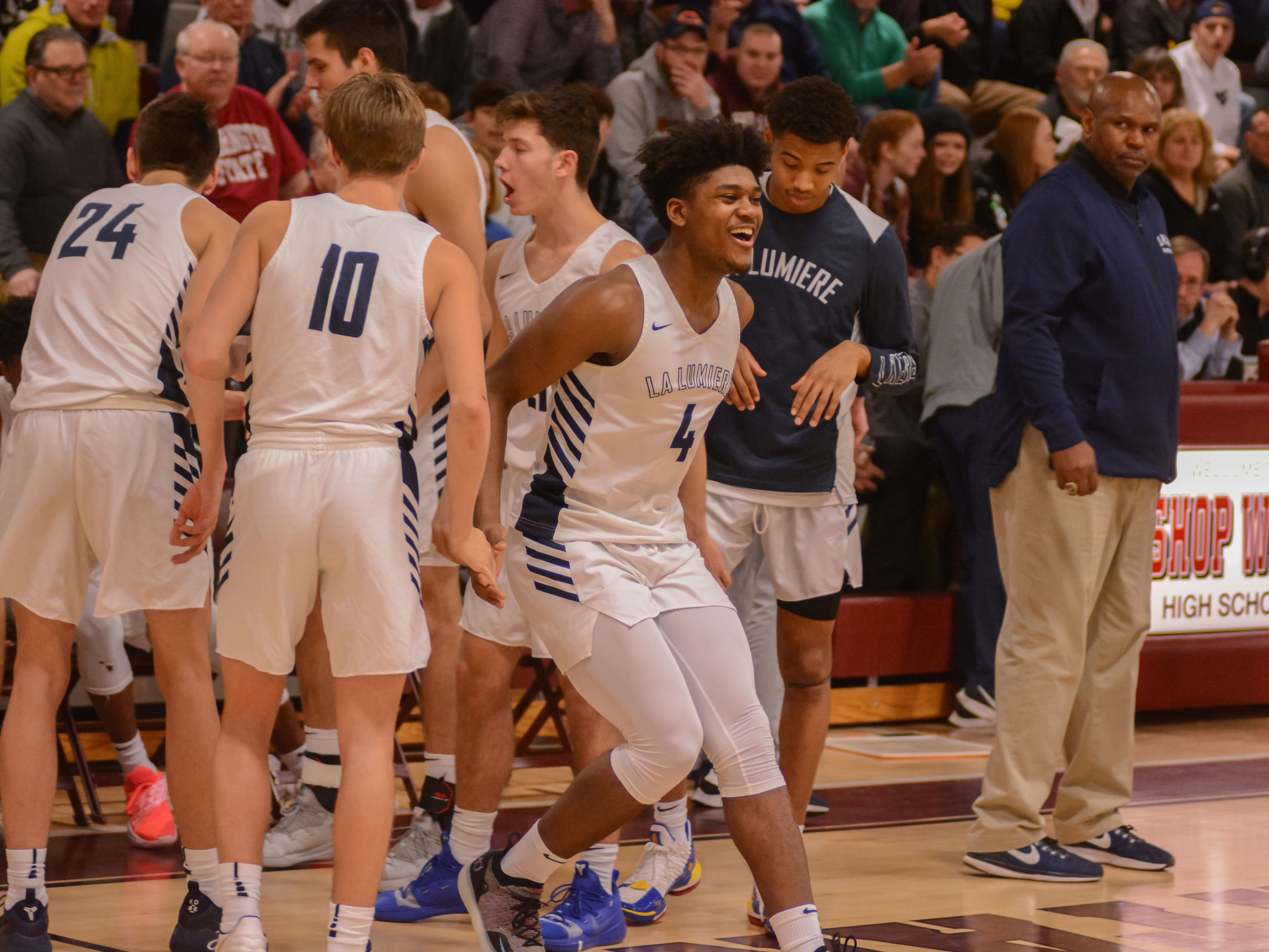 Former Irondequoit star Gerald Drumgoole is introduced before La Lumiere's game against Wasatch at the Bob Kirk Invitational in Cumberland, Maryland.