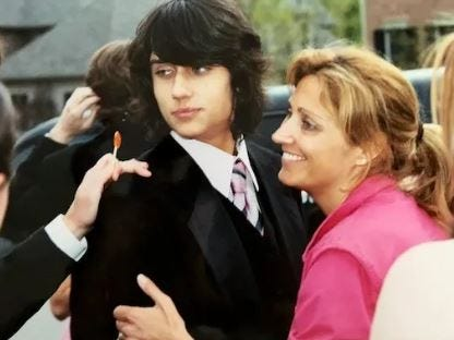 Teddy Geiger and his Mom Lorilyn Bridges before his junior prom in 2005.