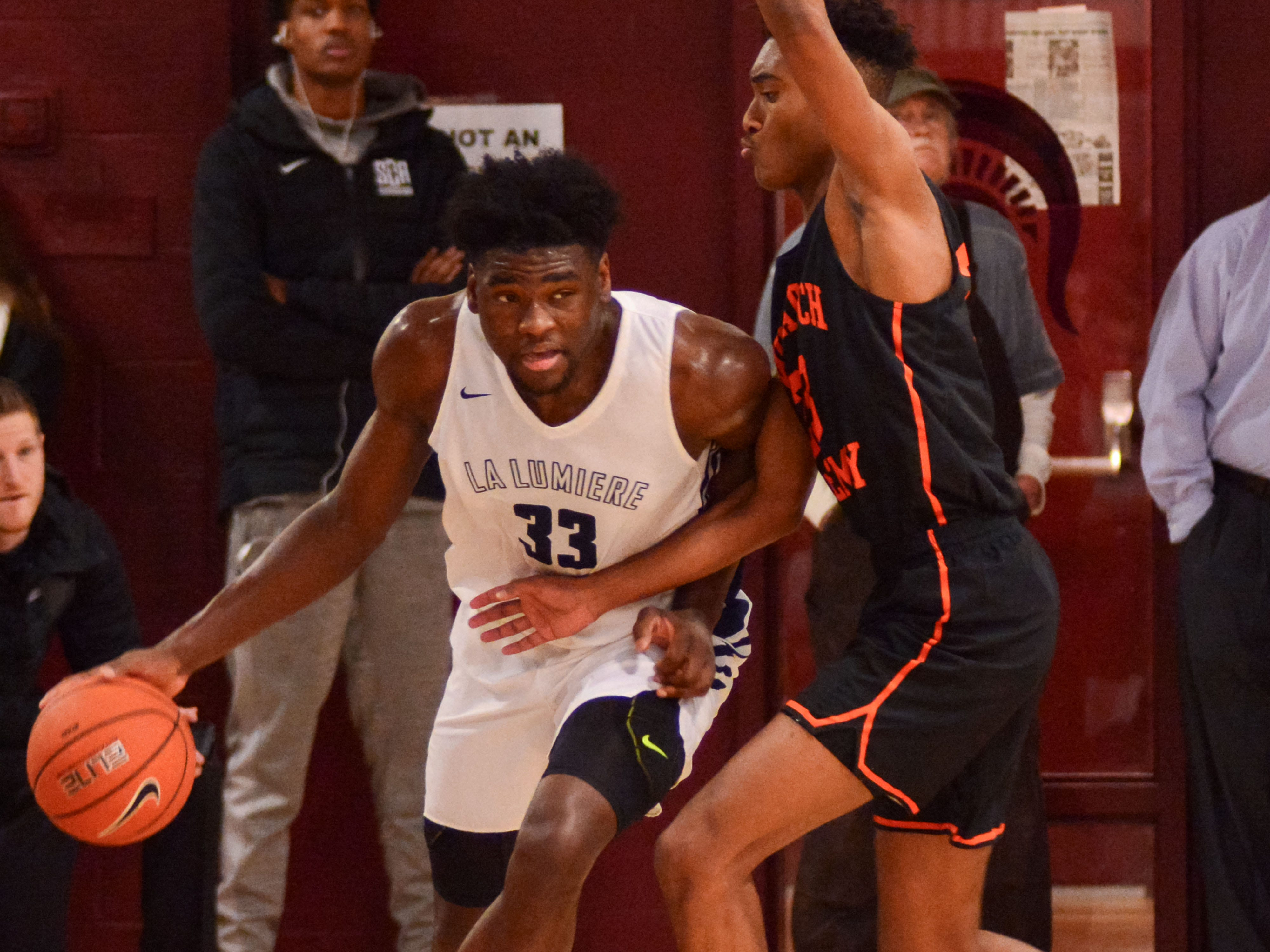 Former McQuaid standout Isaiah Stewart looks to make a move during La Lumiere's win over Wasatch (Utah) at the Bob Kirk Invitational in Cumberland, Maryland.