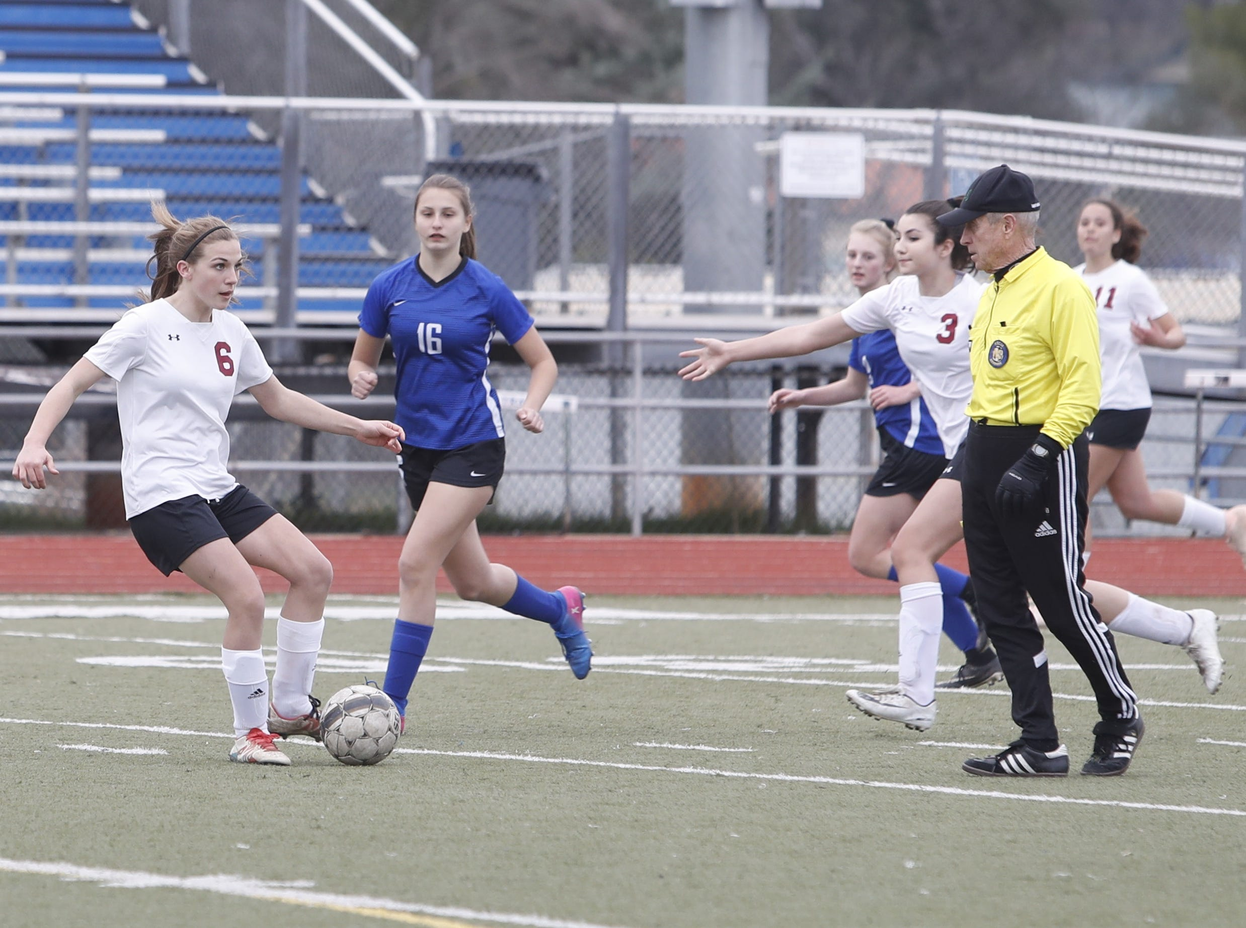 West Valley freshman Samantha Finnegan looks for a teammate during U-Prep's 4-1 win at home over West Valley on Thursday, Feb. 7, 2019.