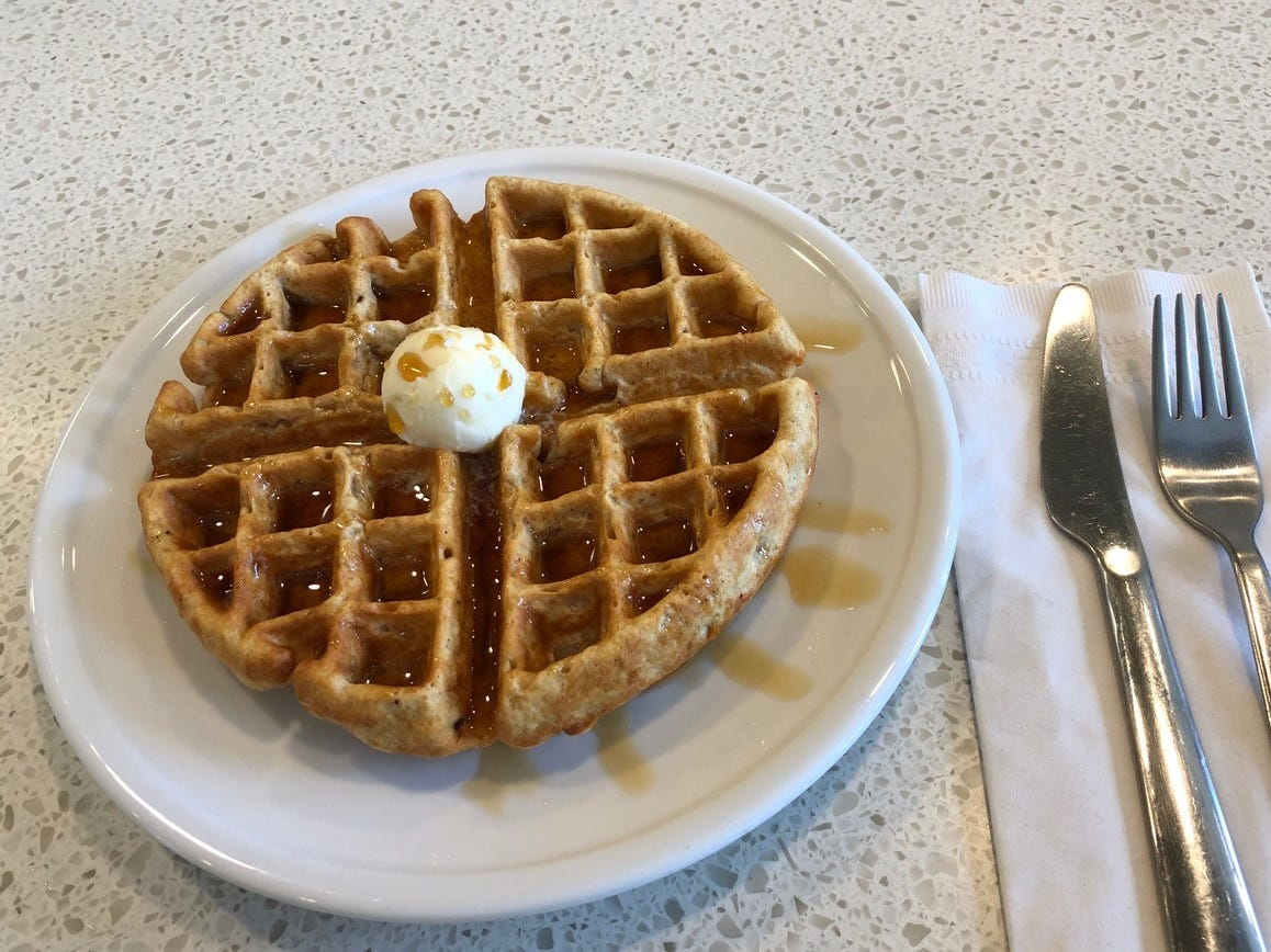 Organic whole wheat waffle at the Coffee Bar on Pine Street in downtown Redding.