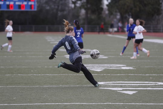 File Photo- West Valley goalkeeper Alyssa Sheats punts the ball in her team's 4-1 loss on the road against the Eagles from Feb. 7, 2019.