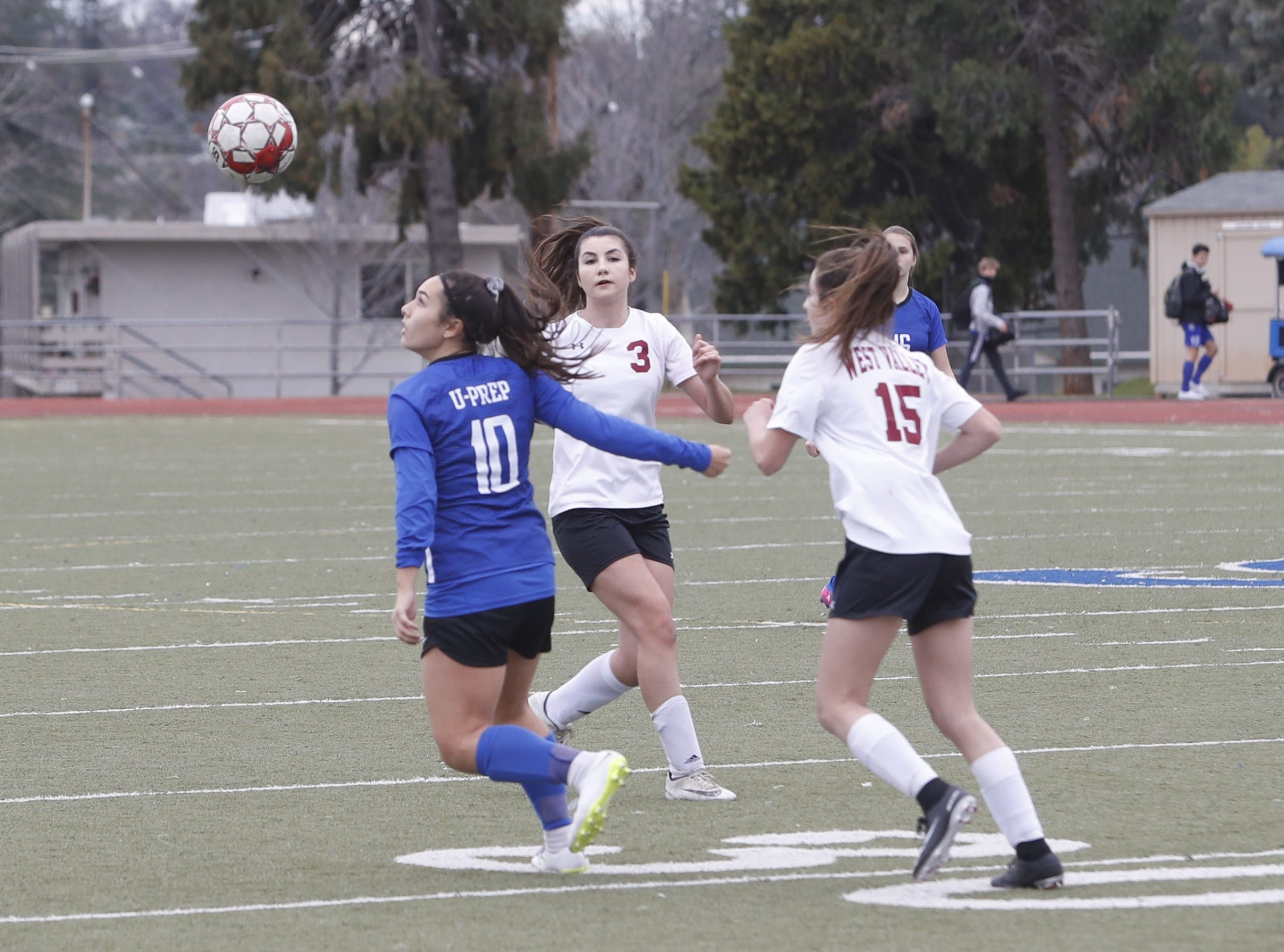 U-Prep midfielder Haley Bramante looks to control the ball during the Panthers' 4-1 win at home over West Valley on Thursday, Feb. 7, 2019.