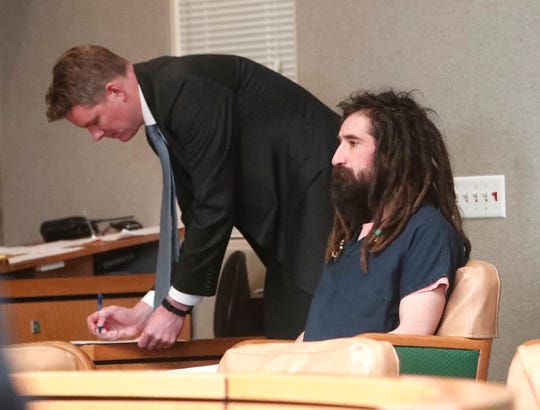 Michael Patrick O'Connell, right, appears with deputy public defender Ryan Hurley in Shasta County Superior Court on Friday. O'Connell, accused of murder, had his arraignment continued to Feb. 11.