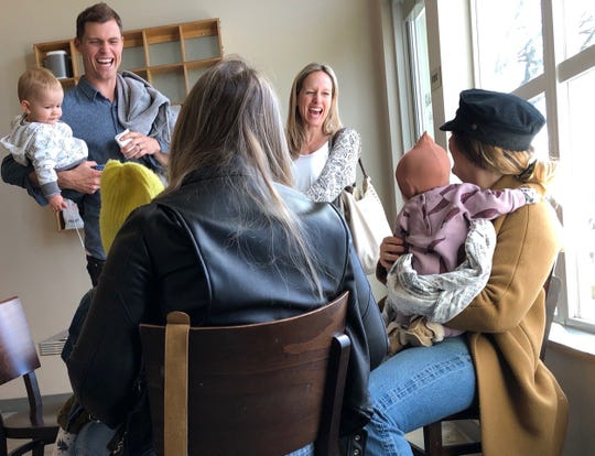 Customers share a laugh at the Coffee Bar on Pine Street in downtown Redding.