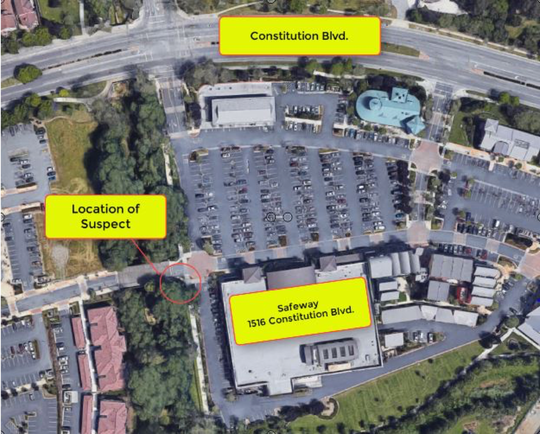 This map provides location details from the Feb. 1, 2019 officer-involved shooting at the Safeway on Constitution Boulevard.