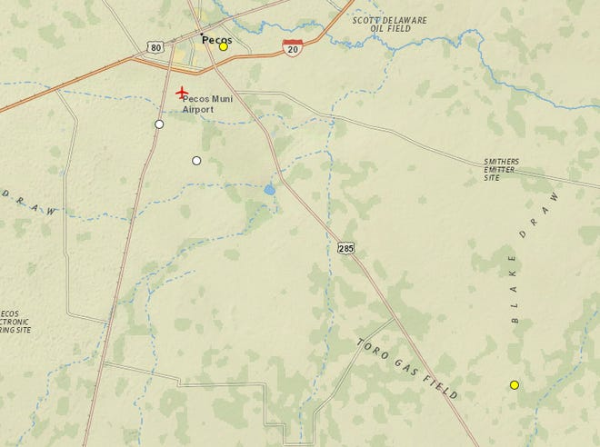 The yellow and white dots on this map from the U.S. Geological Survey shows earthquakes near Pecos, Texas.