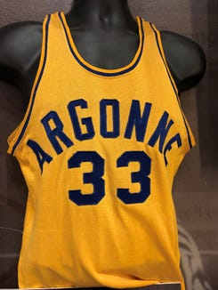 An Argonne Arrows jersey from the 1952-53 season, when Delbert Gillam broke the state scoring record.