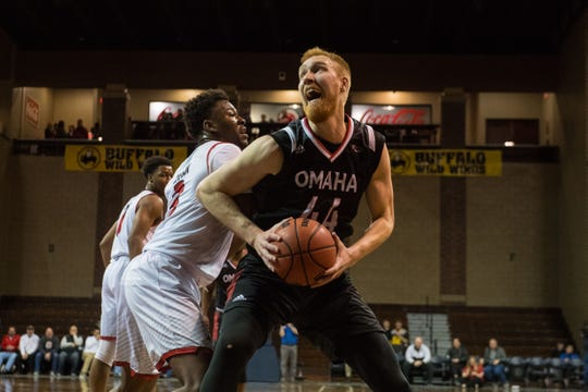 Omaha's Mitch Hahn reacts during a game against the University of South Dakota at the Sanford Pentagon in Sioux Falls, S.D., Thursday, Feb. 7, 2019.