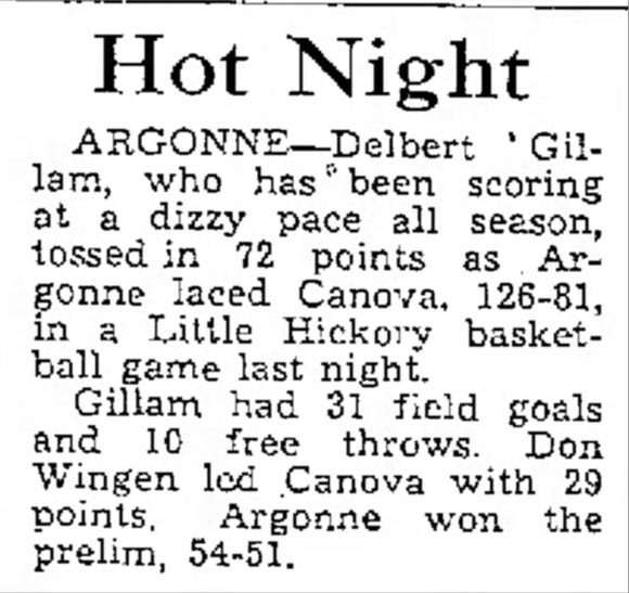 Newspaper clipping from Delbert Gillam's record-breaking performance on Feb. 10, 1953.