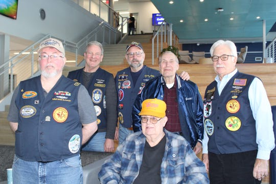 Members of the United States Submarine Veterans Scorpion Base, including Mike Neuroth (seated), attended the USS-SD Commissioning watch party at Dakota State University on Feb. 2. Also pictured is the group's Vice Commander Brian Schnerr (left), Kent Winter, Larry Little, Gerald Davey, and Jim Farquhar.