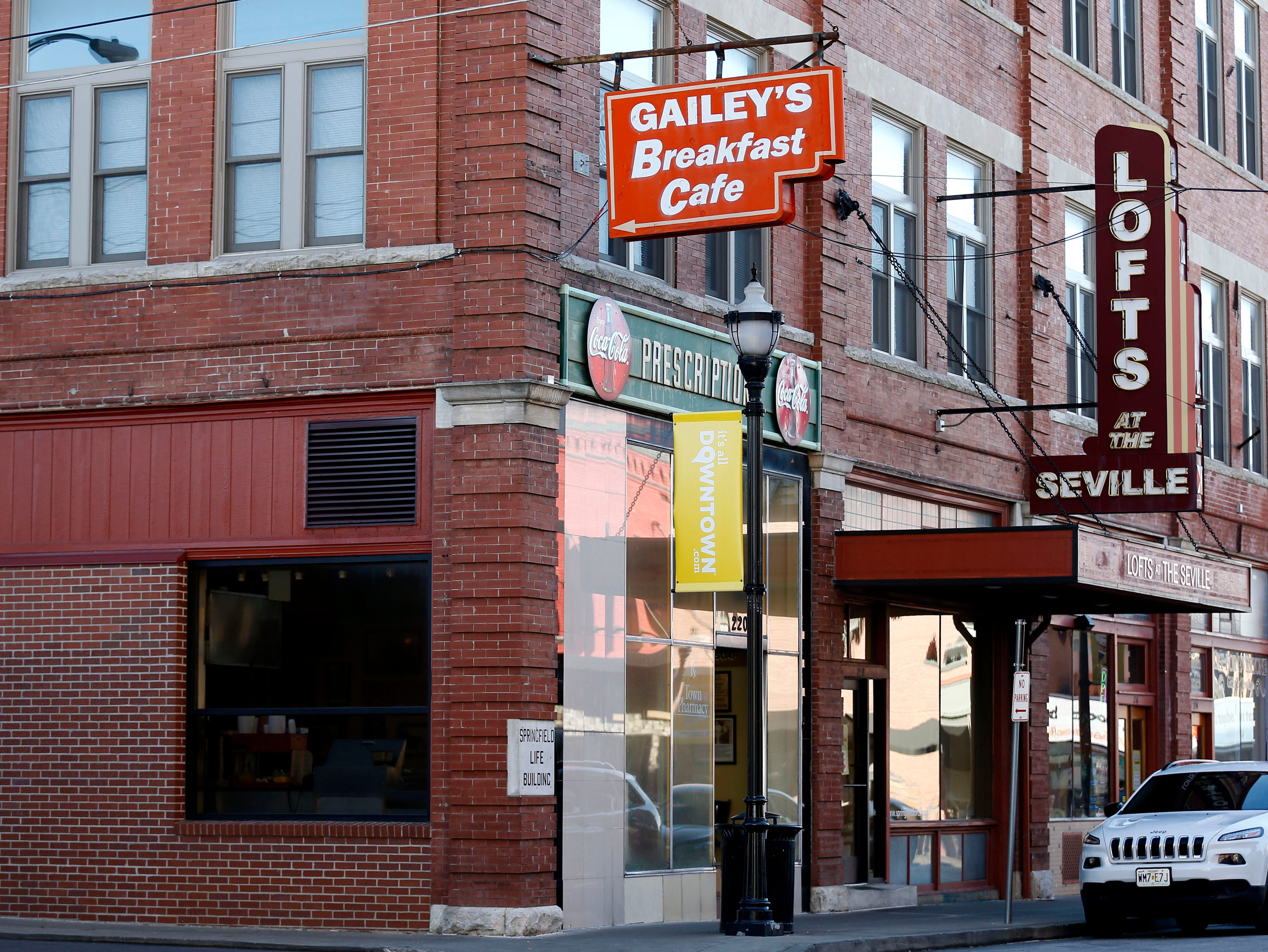Gailey's Breakfast Cafe opened in 1942 in the location where it still operates today. It was opened by Joe Gailey and originally called Gailey's Drug Store and was a combination pharmacy and soda fountain.