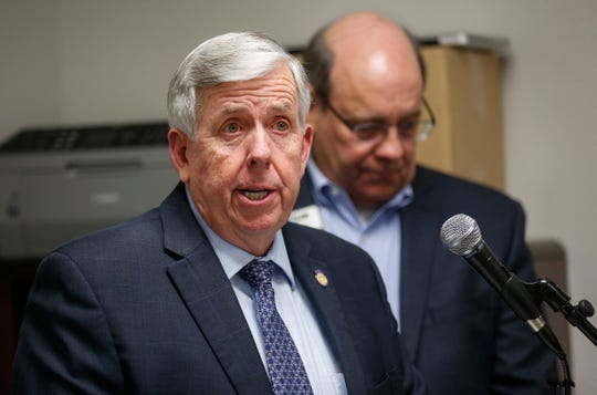 Governor Mike Parson talks about the workforce development legislation Fast Track during a press conference at SMC Packaging Group on Friday, Feb. 8, 2019.