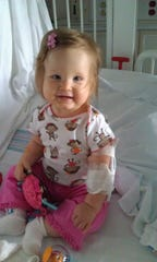 Lyla Valentine in St. Louis Children's Hospital, a day before she had a breathing tube and cardiac catheter put in.