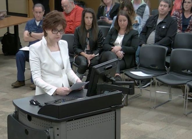 Dianne Ely spoke Tuesday to the Springfield school board during the public comment section of the study session.