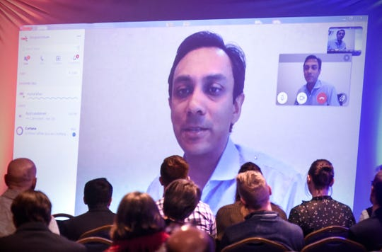 Mynul Khan speaks on the gig economy via video link during the St. Cloud State University Winter Institute Thursday, Feb. 7, in St. Cloud.