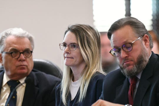 Denise Williams, the woman who was found guilty for the murder of her husband Mike Williams, bites her lip as she listens to Judge James C. Hankinson addresses the courtroom at the beginning of her sentencing, Wednesday, Feb. 6, 2019. Williams was sentenced to life in prison plus 30 years.