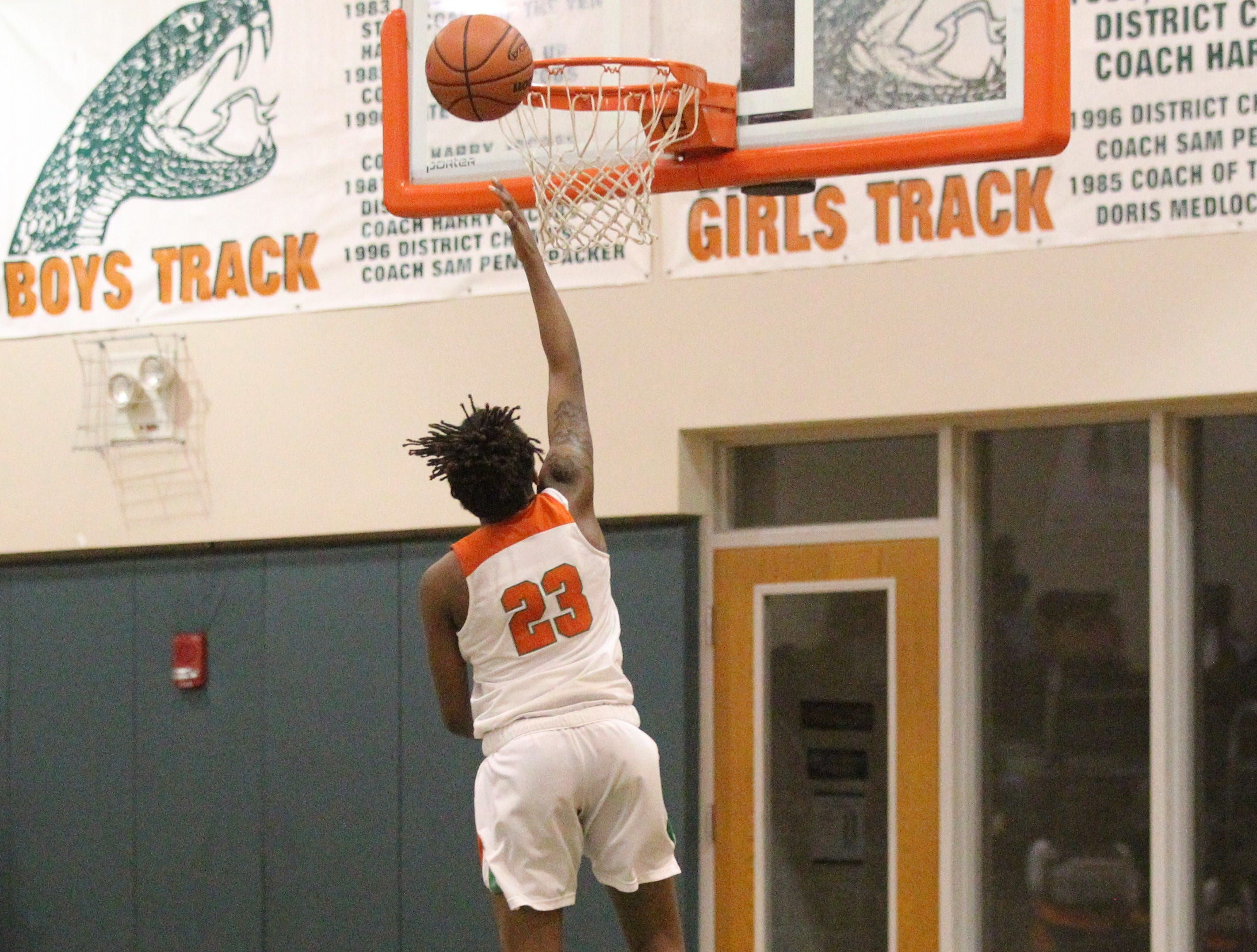 FAMU DRS senior Ayleshia Vickers goes in for a layup off a steal as FAMU DRS' girls basketball team beat NFC 59-41 for a District 1-3A title on Jan. 7, 2019.