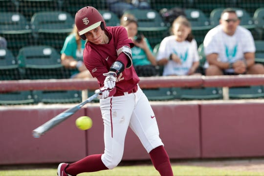 Florida State Seminoles infielder Carsyn Gordon (12) makes contact on her swing as the Florida State Seminoles host the UNC Wilmington Seahawks in their first game of the season at the Joanne Graf Stadium, Friday Feb. 8, 2019.