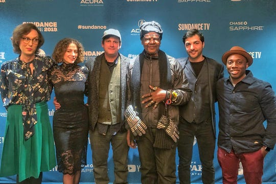 From left: Joy Davenport (editor); Brittany Nugent (producer); Matt Arnett (executive producer); Lonnie Holley (co-director); Cyrus Moussavi (co-director); Charles Autumn (director of photography) at Sundance