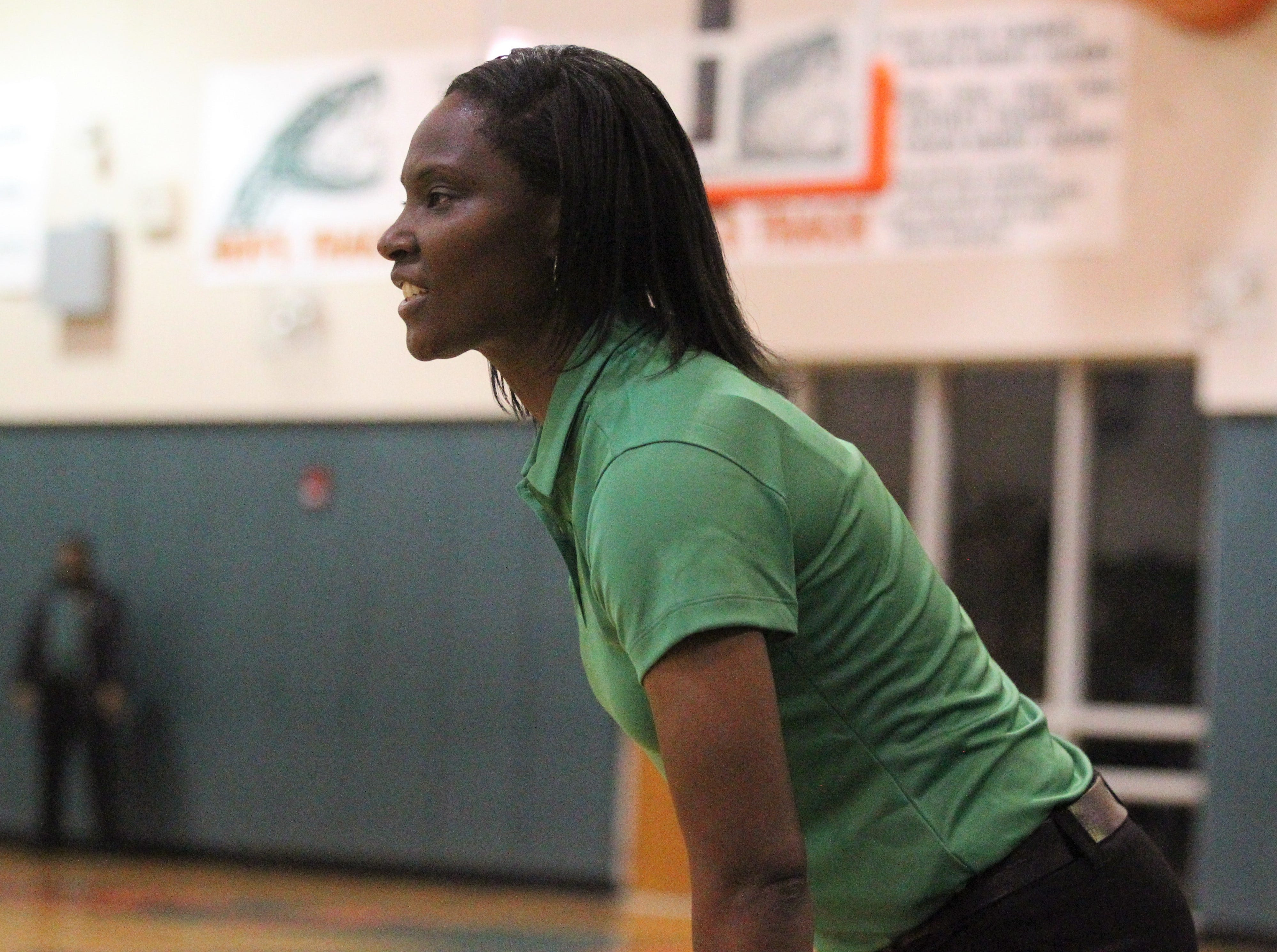 FAMU DRS girls basketball coach Ericka Cromartie watches the Rattlers beat NFC 59-41 for a District 1-3A title on Jan. 7, 2019.