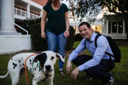 Joshua Quick, who is considered a hero for attacking the Tallahassee Hot Yoga studio shooter with a vacuum, is in his second year of law school at Florida State University. On Thursday, Jan. 7, 2019, he spent part of his afternoon hanging out in the courtyard at the College of Law with friends including Camille Vazquez and Emmy the Dalmatian.